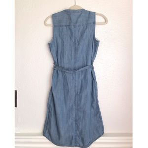 J. Crew Dresses - J Crew button down denim dress tie waist size XS